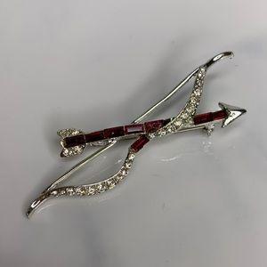 Vintage Bow and Arrow  Brooch Pin Silver & Garnet
